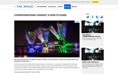 Screenshot of Blog thespace.org - Choreographing Cranes?  A How-To Guide  - The Space - captured Jan. 19, 2016
