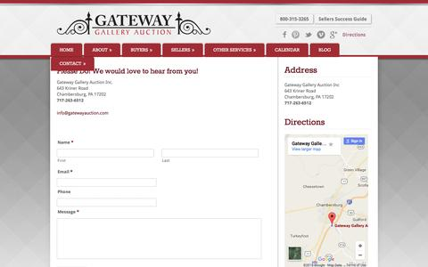 Screenshot of Contact Page gatewayauction.com - Contact Us | Gateway Gallery Auction - captured Oct. 28, 2016
