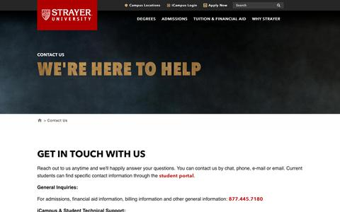 Screenshot of Contact Page strayer.edu - Contact Us | Request Information | Strayer University - captured Nov. 27, 2018