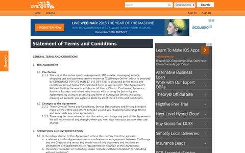 Screenshot of Terms Page cutorange.com - Terms and Conditions   CutOrange - captured Dec. 14, 2015