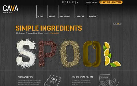 Screenshot of Home Page cavagrill.com - Cava Mezze Grill - captured July 11, 2014