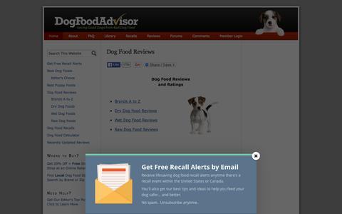Screenshot of Home Page dogfoodadvisor.com - Dog Food Reviews and Ratings | Dog Food Advisor - captured Jan. 7, 2016