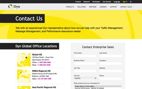 Screenshot of Contact Page dyn.com - Contact Us - Dyn - captured Oct. 10, 2014
