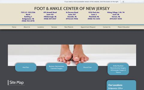 Screenshot of Site Map Page facnj.com - Site Map - Foot & Ankle Center of New Jersey - captured Oct. 14, 2017