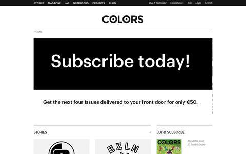 Screenshot of Home Page colorsmagazine.com - COLORS Magazine - captured July 11, 2014