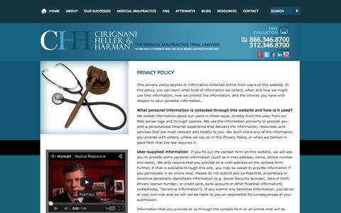 Screenshot of Privacy Page cirignani.com - Privacy Policy | Cirignani Heller & Harman, LLP | Chicago, Illinois - captured Oct. 2, 2014