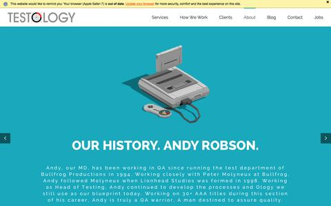 Screenshot of About Page testology.co.uk - About Testology - Where we come from. Who we are. - captured Jan. 16, 2016