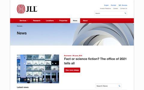 Screenshot of Press Page jll.ro - News - captured June 13, 2016