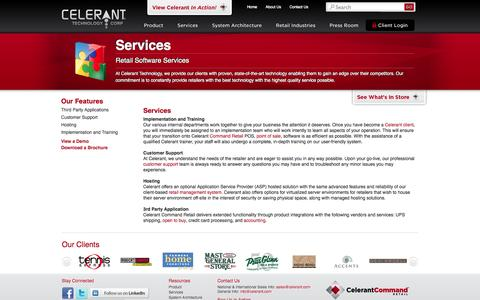 Screenshot of Services Page celerant.com - Retail POS Software Services by Celerant Technology - captured Oct. 27, 2014
