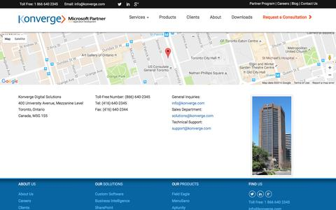 Screenshot of Contact Page konverge.com - Custom Software Development Toronto, Custom Software | Konverge - captured Nov. 27, 2016
