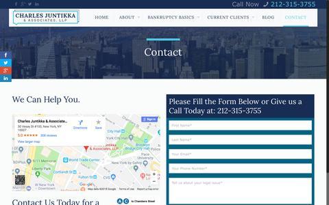 Screenshot of Contact Page cjalaw.com - Contact Us | NYC Bankruptcy Lawyers | Charles Juntikka & AssociatesCharles Juntikka & Associates - captured June 19, 2018