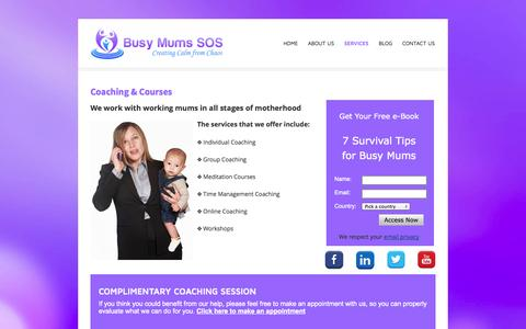 Screenshot of Services Page busymumssos.com - Busy Mums SOS - Creating Calm from Chaos - BUSY MUMS SOS - Creating Calm from Chaos - captured Sept. 30, 2014