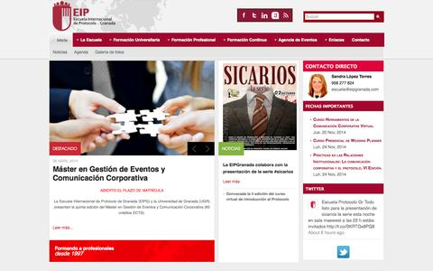 Screenshot of Home Page eipgranada.com - Inicio - Escuela Internacional de Protocolo de Granada - captured Oct. 2, 2014