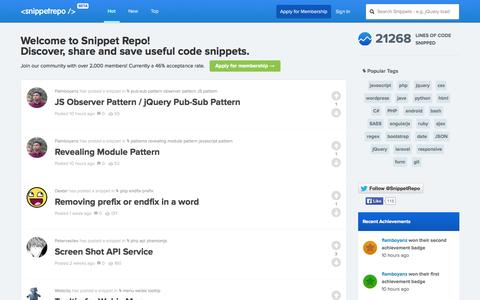 Screenshot of Home Page snippetrepo.com - Snippet Repo - captured Sept. 24, 2014