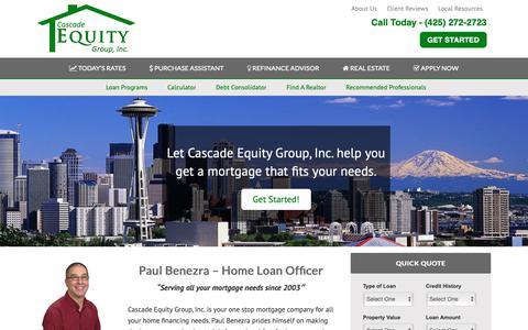 Screenshot of Home Page cascade-equity.com - Home | Paul Benezra - Cascade Equity Group Inc - captured Sept. 27, 2018