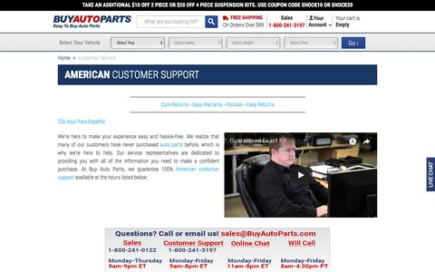 Screenshot of Hours Page buyautoparts.com - Auto Parts Specialists - Buy Auto Parts American Customer Support - captured Jan. 8, 2018