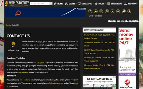 Screenshot of Contact Page worldsfactory.net - Contact Us - Worlds Factory - captured Sept. 23, 2014