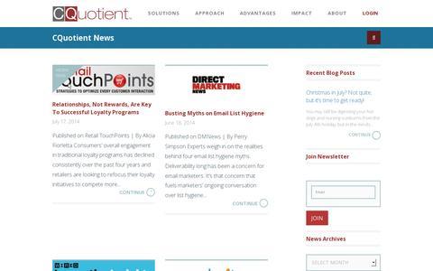 Screenshot of Press Page cquotient.com - News Archive - CQuotient : CQuotient - captured July 19, 2014