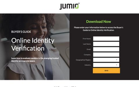 Screenshot of Landing Page jumio.com - Buyer's Guide to Online Identity Verification - captured April 1, 2018