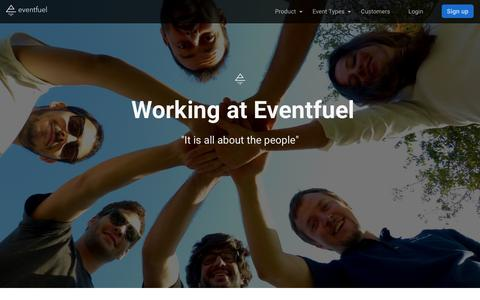 Screenshot of Jobs Page eventfuel.io - About working at Eventfuel - captured July 5, 2018