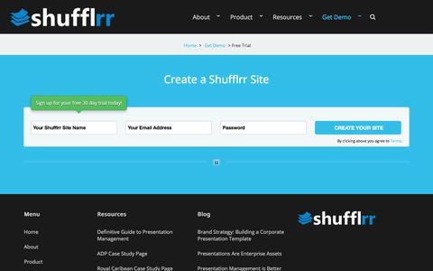Screenshot of Trial Page shufflrr.com - Shufflrr is Presentation Management.  A slide library for PowerPoint.  –  Create a Site - captured July 17, 2018