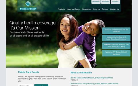 Screenshot of Home Page fideliscare.org - Fidelis Care - captured Aug. 3, 2015