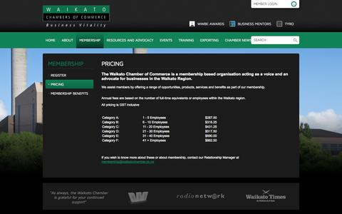 Screenshot of Pricing Page waikatochamber.co.nz - Pricing - Waikato Chamber of Commerce - captured Oct. 9, 2014