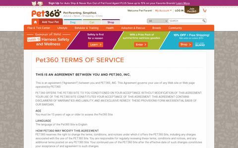 Screenshot of Terms Page pet360.com - Pet360 - Terms Of Service - Pet360 Pet Parenting Simplified - captured July 19, 2014