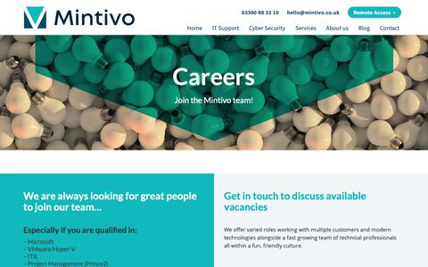 Screenshot of Jobs Page mintivo.co.uk - Mintivo careers - technology and business IT jobs - join our team today - captured Oct. 20, 2018