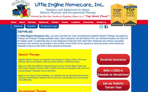 Screenshot of Services Page littleenginehomecare.com - Services - LittleEngineLittleEngine - captured Oct. 3, 2014