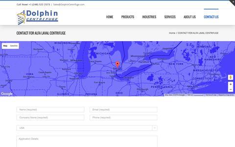 Screenshot of Contact Page dolphincentrifuge.com - Contact for Alfa Laval Centrifuge - captured Nov. 24, 2016
