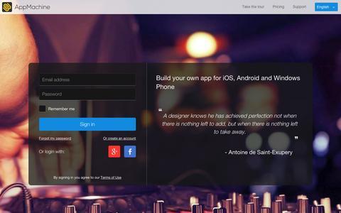 Screenshot of Login Page appmachine.com - AppMachine - captured Dec. 6, 2015