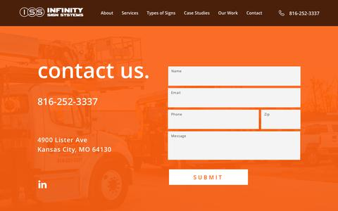 Screenshot of Contact Page infinitysignsystems.com - Contact Us | Premier Sign Installation Company | Infinity Signs - captured Nov. 6, 2018