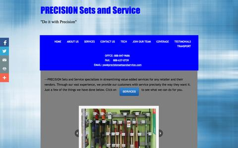 Screenshot of Home Page precisionsetsandservice.com - Home - captured Sept. 30, 2014