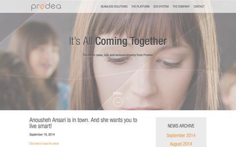 Screenshot of Press Page prodea.com - Prodea > Company > News - captured Sept. 17, 2014
