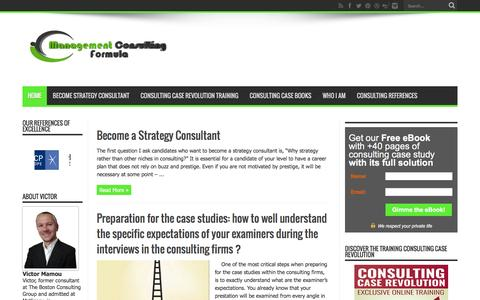Screenshot of Home Page management-consulting-formula.com - Consulting case preparation for management consulting | Case interview preparation for management consulting - captured Dec. 12, 2015