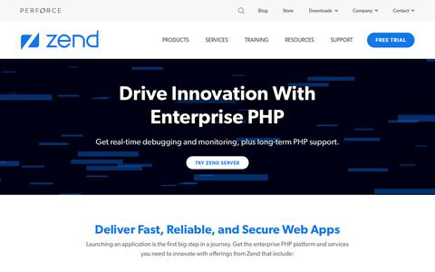 Screenshot of Home Page zend.com - Enterprise PHP Development Platform and Services | Zend by Perforce - captured Sept. 30, 2019
