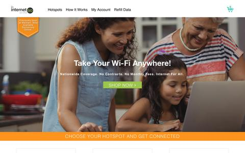 Screenshot of Home Page internet-go.com - Cheap WiFi Hotspot w. Data | 4G LTE Wi-Fi | Internet on the Go - captured Feb. 23, 2018