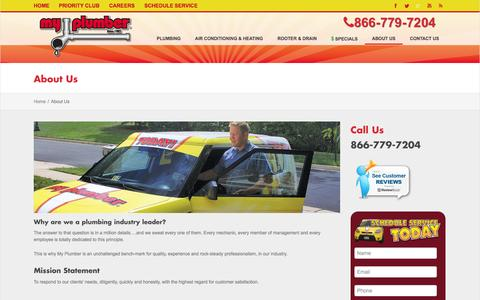 Screenshot of About Page myplumber.com - About My Plumber Heating & Air Conditioning - captured Oct. 6, 2014
