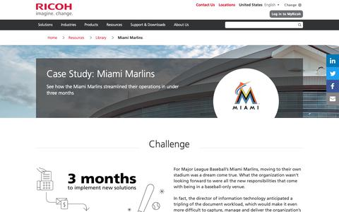 Screenshot of Case Studies Page ricoh-usa.com - Case Study: Miami Marlins | Ricoh USA - captured Jan. 3, 2019