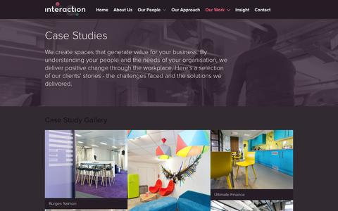 Screenshot of Case Studies Page interaction.uk.com - Case Studies | Interaction Office Design, Fit-out and Refurbishment - captured Feb. 11, 2016
