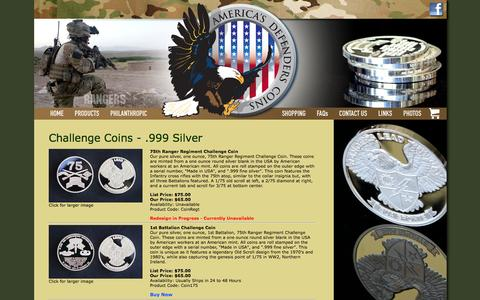 Screenshot of Products Page americasdefenderscoins.com - Products | America's Defenders Coins | Silver Ranger Coins | Silver Coins | Military Challenge Coins | .999 Silver - captured Oct. 4, 2014