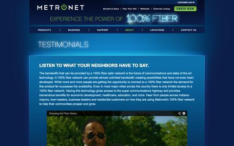Screenshot of Testimonials Page metronetinc.com - Metronet - captured Oct. 10, 2014