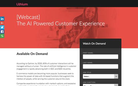 Screenshot of Landing Page lithium.com - [Webcast] The AI Powered Customer Experience - captured March 8, 2017