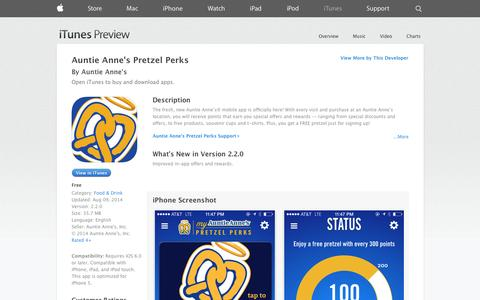 Screenshot of iOS App Page apple.com - Auntie Anne's Pretzel Perks on the App Store on iTunes - captured Oct. 23, 2014