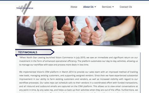Screenshot of Testimonials Page visioncommerce.com - Testimonials - Vision Commerce - captured Feb. 14, 2016