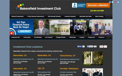 Screenshot of Locations Page bakersfieldinvestmentclub.com - Investment Club Locations - captured Sept. 30, 2014