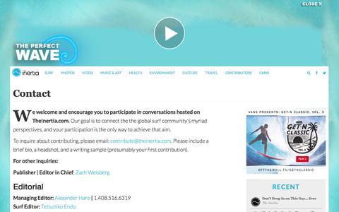 Screenshot of Contact Page theinertia.com - Contact TheInertia.com | The Inertia - captured Sept. 18, 2014