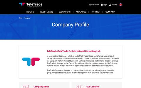 Screenshot of About Page teletrade.eu - Company Profile - TeleTrade | Official Forex Trading Sponsor of Burnley F.C. - captured April 20, 2018