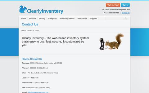 Screenshot of Contact Page clearlyinventory.com - Contact Us - Clearly Inventory - captured Sept. 19, 2014